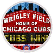 Cubs Win Wrigley Field Chicago Illinois Recycled Vintage License Plate Baseball Team Art Round Beach Towel by Design Turnpike