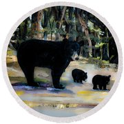Cubs With Momma Bear - Dreamy Version - Black Bears Round Beach Towel