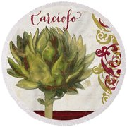 Cucina Italiana Artichoke Round Beach Towel by Mindy Sommers
