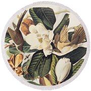 Cuckoo On Magnolia Grandiflora Round Beach Towel by John James Audubon