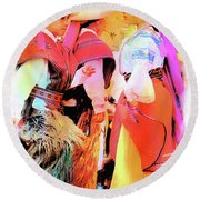 Round Beach Towel featuring the photograph Cuenca Kids 884 by Al Bourassa