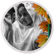 Round Beach Towel featuring the photograph Cuenca Kids 885 by Al Bourassa
