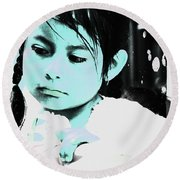 Round Beach Towel featuring the photograph Cuenca Kids 886 by Al Bourassa