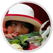 Round Beach Towel featuring the photograph Cuenca Kids 887 by Al Bourassa