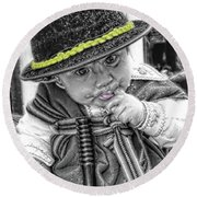 Round Beach Towel featuring the photograph Cuenca Kids 888 by Al Bourassa