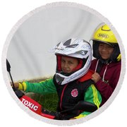 Round Beach Towel featuring the photograph Cuenca Kids 889 by Al Bourassa