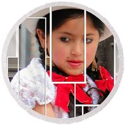 Round Beach Towel featuring the photograph Cuenca Kids 890 by Al Bourassa
