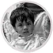 Round Beach Towel featuring the photograph Cuenca Kids 893 by Al Bourassa