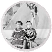 Round Beach Towel featuring the photograph Cuenca Kids 896 by Al Bourassa