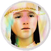 Round Beach Towel featuring the photograph Cuenca Kids 899 by Al Bourassa