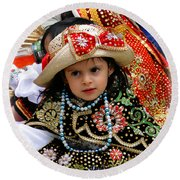 Round Beach Towel featuring the photograph Cuenca Kids 900 by Al Bourassa