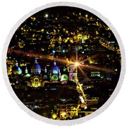 Round Beach Towel featuring the photograph Cuenca's Historic District At Night by Al Bourassa