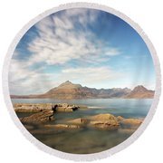 Cuillin Mountain Range Round Beach Towel