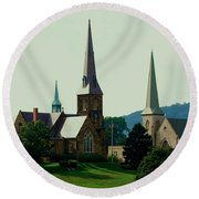 Cumberands Steeples Round Beach Towel by Eric Liller