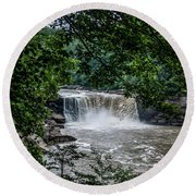 Round Beach Towel featuring the photograph Cumberland Falls by Joann Copeland-Paul