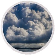 Round Beach Towel featuring the photograph Cumulus Over The River by William Selander