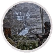 Round Beach Towel featuring the photograph Cunningham Falls In The Rain And Fog by Mark Dodd