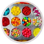 Cup Cake Tray Full Of Candy Round Beach Towel