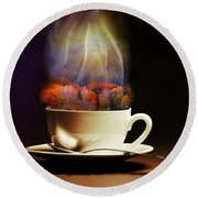 Cup Of Autumn Round Beach Towel by Lilia D