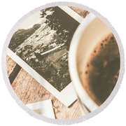 Cup Of Nostalgia Round Beach Towel