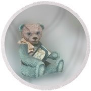 Round Beach Towel featuring the photograph Cupcake Figurine by Linda Phelps