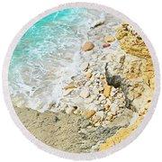 The Sea Below Round Beach Towel