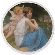 Cupid And Psyche Round Beach Towel
