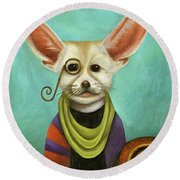 Round Beach Towel featuring the painting Curious As A Fox by Leah Saulnier The Painting Maniac