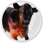 Buster The Calf Painting Round Beach Towel by Michele Carter