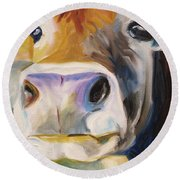 Curious Cow Round Beach Towel by Donna Tuten