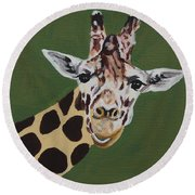 Curious Giraffe Round Beach Towel