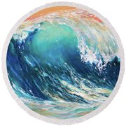 Curl At Sunset Round Beach Towel