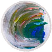Round Beach Towel featuring the painting Curl by Fred Wilson