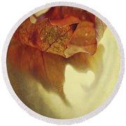 Curled Autumn Leaf Round Beach Towel