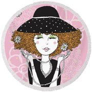 Curly Girl In Polka Dots Round Beach Towel
