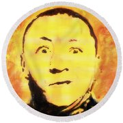 Round Beach Towel featuring the painting Curly Howard Three Stooges Pop Art by Bob Baker