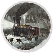 Currier And Ives Round Beach Towel by American Railroad Scene