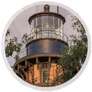 Currituck Beach Lighthouse Close-up Round Beach Towel