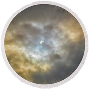 Curtain Of Clouds Eclipse Round Beach Towel