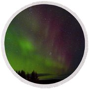 Curtains Of The Aurora Round Beach Towel