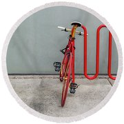 Curved Rack In Red - Urban Parking Stalls Round Beach Towel