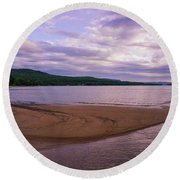 Curves In The Bay Round Beach Towel by Rachel Cohen