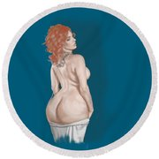 Round Beach Towel featuring the mixed media Curves Of Helga by TortureLord Art