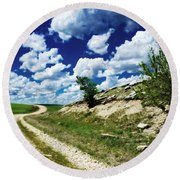 Curving Gravel Road Round Beach Towel