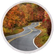 Curvy Road In The Mountains Round Beach Towel
