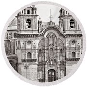 Cusco Cathedral Round Beach Towel by Darcy Michaelchuk