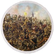 Custer's Last Stand From The Battle Of Little Bighorn Round Beach Towel