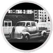 Round Beach Towel featuring the photograph Custom Chevy Asbury Park Nj Black And White by Terry DeLuco