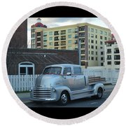 Round Beach Towel featuring the photograph Custom Chevy Asbury Park Nj by Terry DeLuco