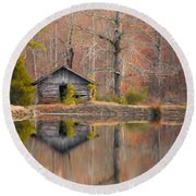 Custom Crop - Cabin By The Lake Round Beach Towel by Shelby  Young